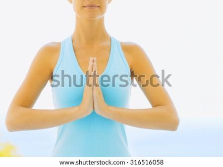 girl is doing yoga - stock photo