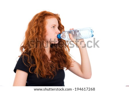 girl is drinking water - stock photo