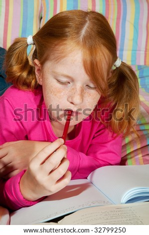Girl is making homework