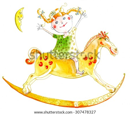 Girl is riding a toy-horse. She has red hair and pigtails.The moon is laughing. The girl is rising her hands high. She has red cheeks and green clothes. The horse has red apples on its body.