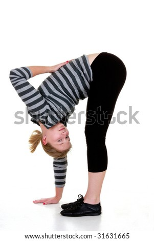 Girl is stretching