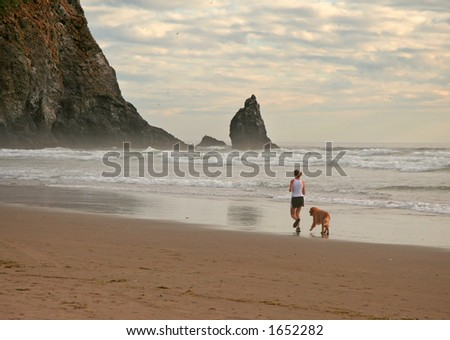 Girl jogging with her dog along the water edge on a beach - stock photo