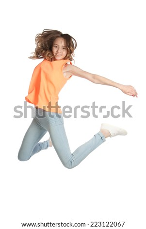 Girl jumped arms outstretched, isolated