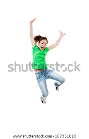 Girl jumping, running isolated on white background - stock photo