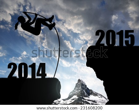 Girl jumps to the New Year 2015 - stock photo