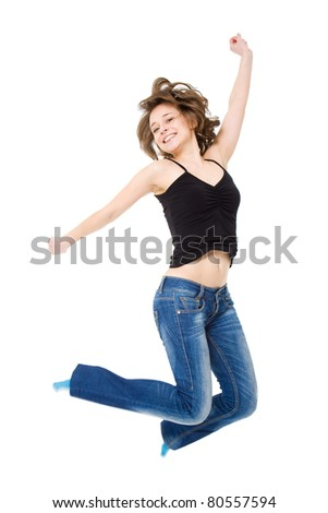 girl jumps with happiness. Isolated on a white background