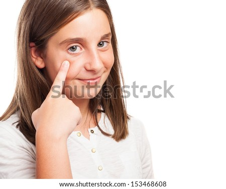girl keeping an eye on something on a white background - stock photo