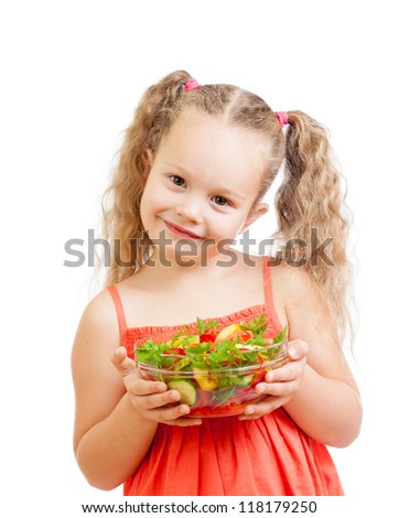 girl kid with healthy food vegetables - stock photo