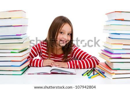 Girl learning isolated on white background - stock photo