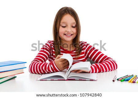 Girl learning isolated on white background