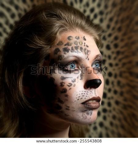 Girl leopard - stock photo