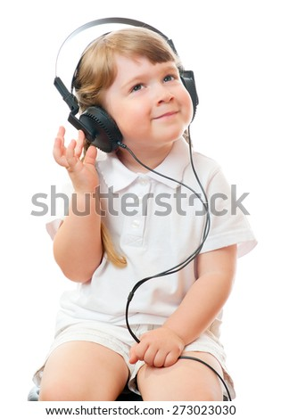 Girl listen music - stock photo