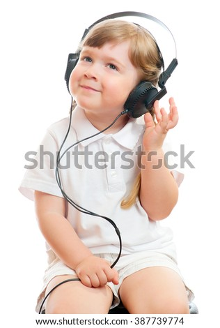 Girl listen music - stock photo