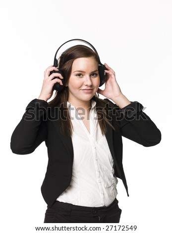 Girl listen to music - stock photo