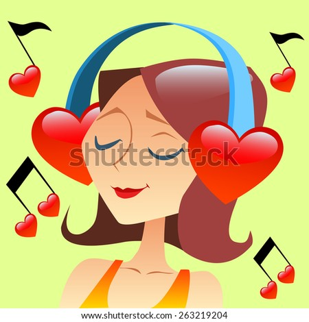 Girl listening to music with headphones in the form of a red heart flying around notes - stock photo