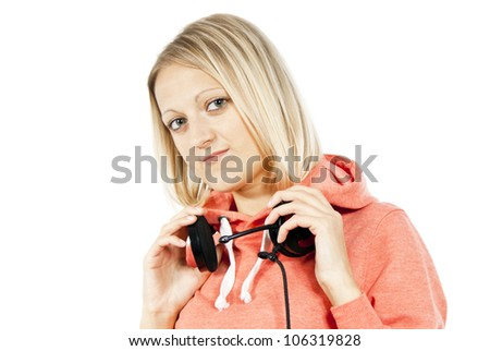girl listening to music with headphones isolated - stock photo