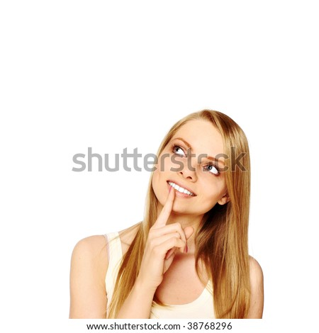 Girl looking at blank space - Close up portrait of a beautiful female model. Looking to the side into copyspace - stock photo