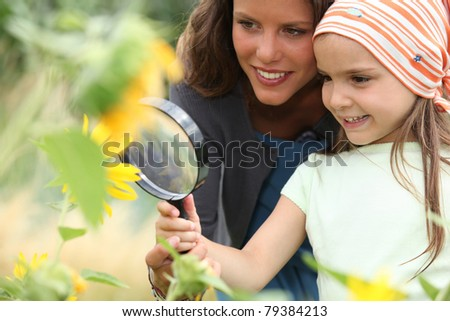 Girl looking at sunflower - stock photo