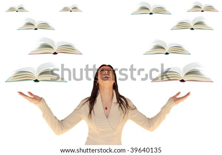 Girl looking up with flying books around her, isolated on a white background.