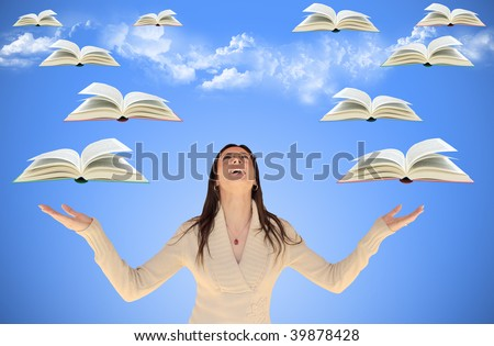 Girl looking up with flying books around her, with sky and clouds in background