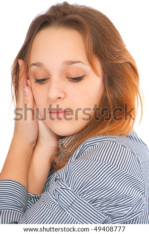 Girl looks below, isolated on white background. - stock photo