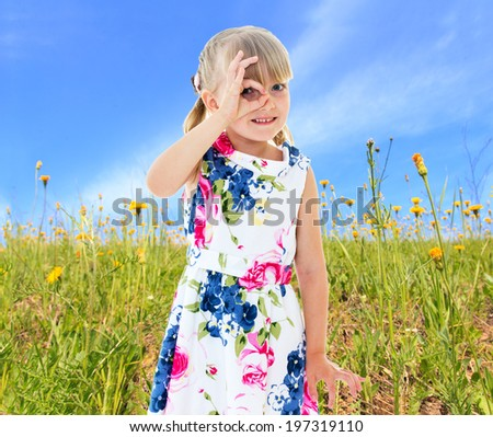 Girl looks through the fingers folded ring amid green meadows - stock photo