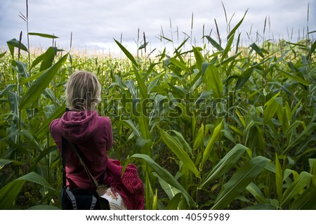 Girl lost in cornfield