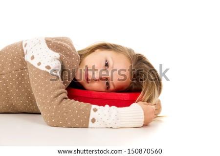 girl lying on the box - stock photo