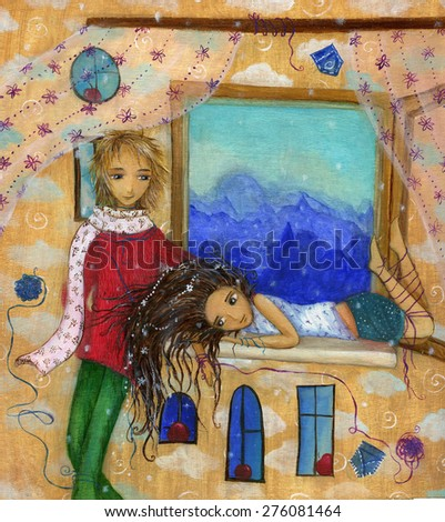 Girl lying on the windowsill and boy staying near in the room on the night city background - stock photo