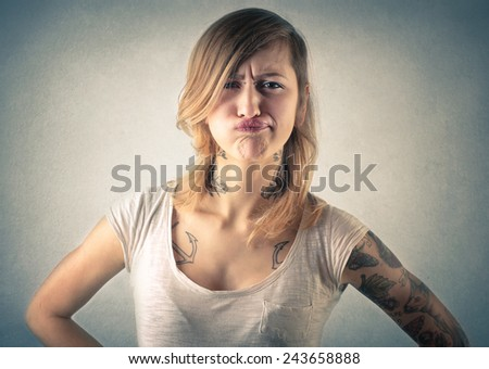 Girl making jokes  - stock photo