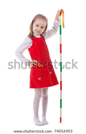 Girl measuring height isolated on white - stock photo