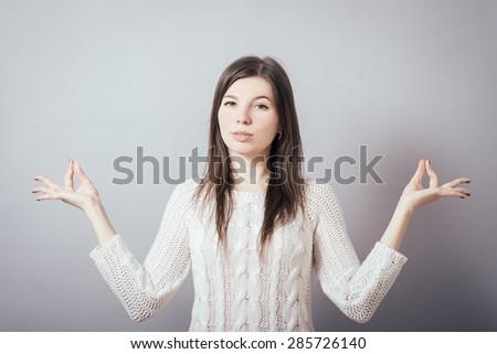 girl meditates - stock photo