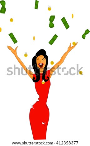 Girl, money, business, dollars, gold, profit, income, joy, success, smile, independence