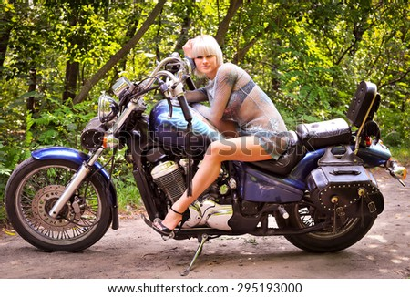 girl motorcycle  thicket ground travel