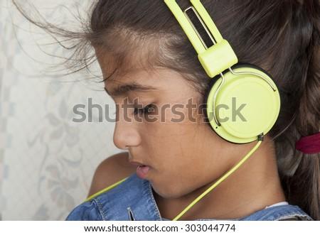 girl music - stock photo