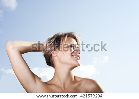 Girl. Nature. - stock photo