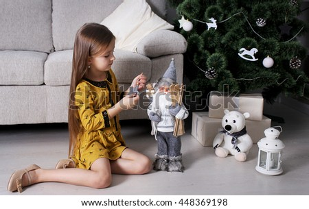 girl New Year gifts - stock photo