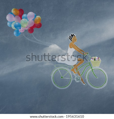 girl on a bicycle with a basket of flowers, summer fantasy,  travel