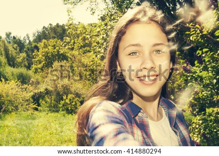 girl on a sunny summer day. Smile, Emotions. Selective focus. Retro style - stock photo