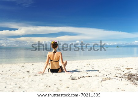 Girl on a tropical beach