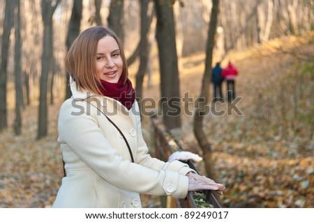 girl on a walk - stock photo