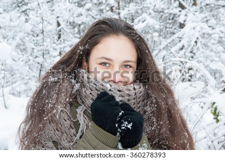 Girl on a walk in the winter