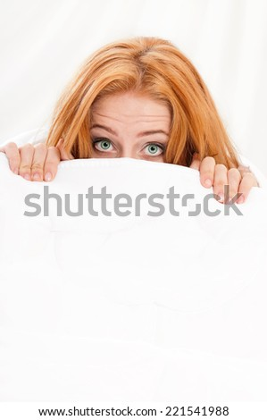 Girl on bed - stock photo