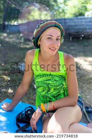Girl on ethnic festival. Bright colorful and beautiful. - stock photo