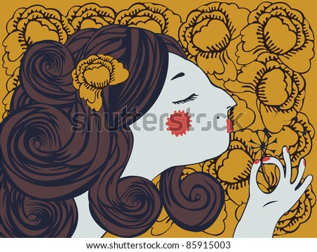 girl on floral background - stock photo