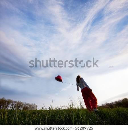 girl on grassland - stock photo