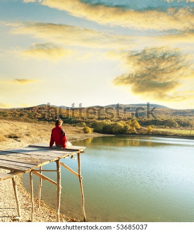 girl on lake - stock photo
