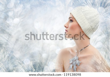 girl on the background of frozen window