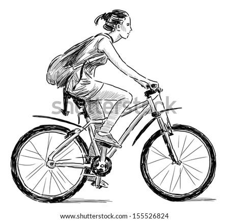 girl on the bicycle - stock photo
