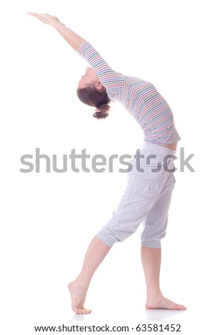 Girl on the fitness. Isolated. Hand up - stock photo